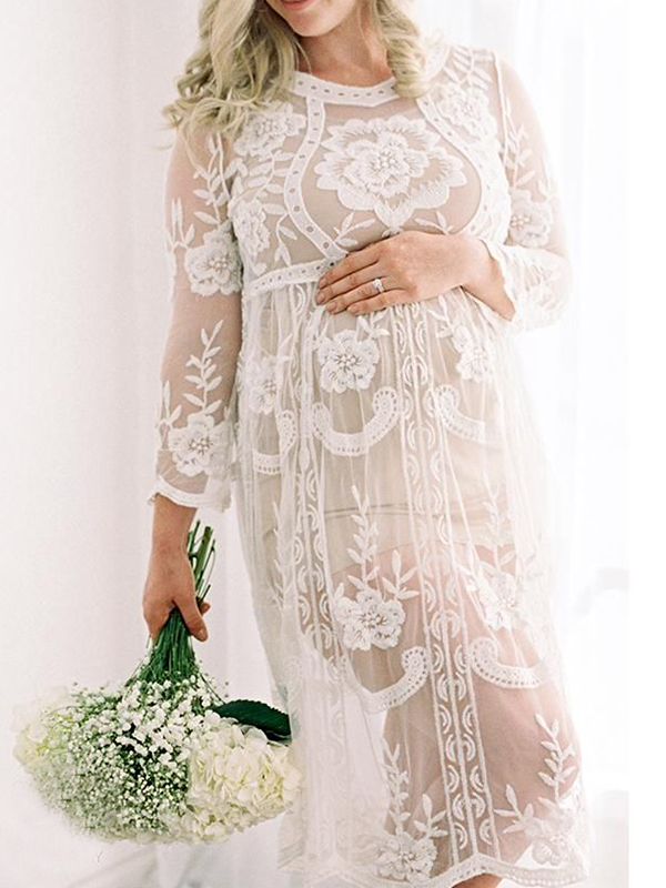 white floral lace grenadine embroidery long sleeve