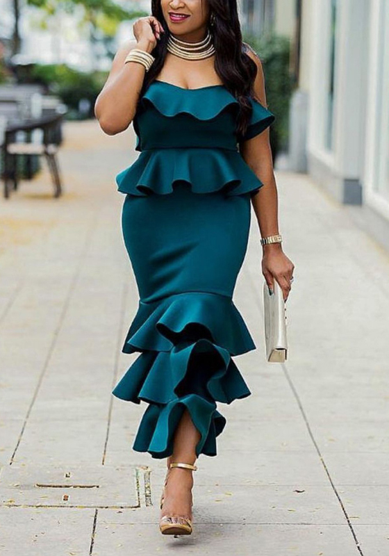01106e00d61c Dark Green Ruffle Bandeau Off Shoulder Backless Zipper Elegant Mermaid  Party Midi Dress - Midi Dresses - Dresses