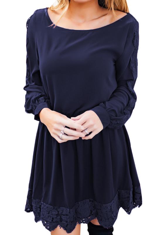dunkelblaue flickwerk spitze rundhals mode minikleid minikleider kleider. Black Bedroom Furniture Sets. Home Design Ideas