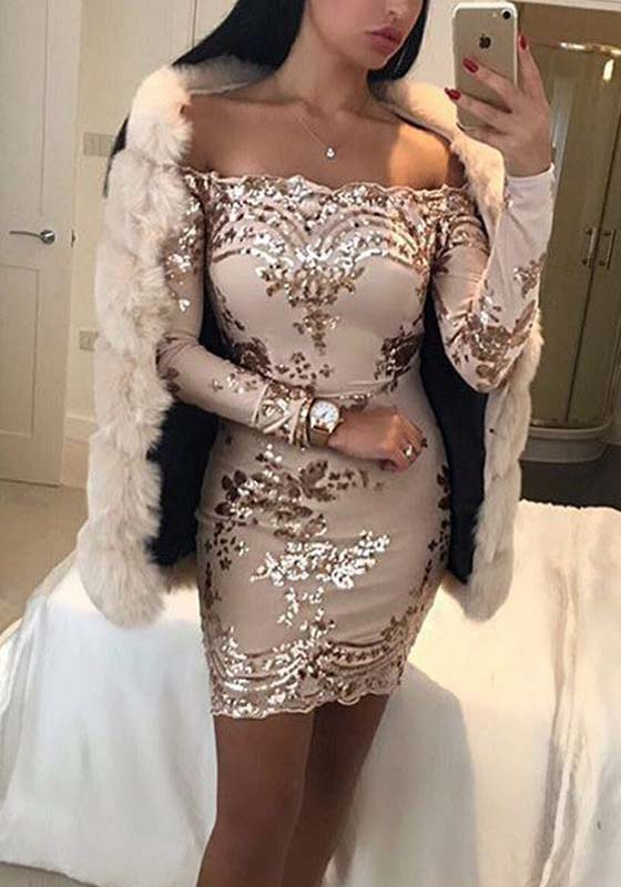 Rose Gold Patchwork Sequin Off Shoulder Backless Cocktail