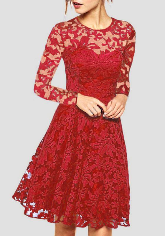 rotes spitze rundhals langarm elegantes prom abend party. Black Bedroom Furniture Sets. Home Design Ideas