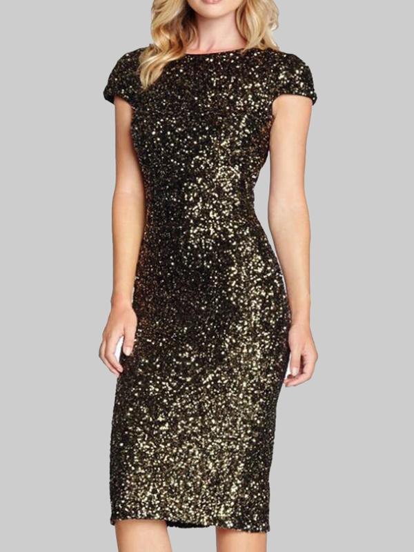 Black Golden Slit Sequin Back Deep V Backless Prom Evening Party Midi Dress  - Midi Dresses - Dresses 1d5720385