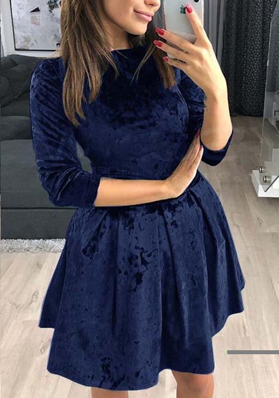 dunkelblaue r schen rundhals mode minikleid minikleider kleider. Black Bedroom Furniture Sets. Home Design Ideas