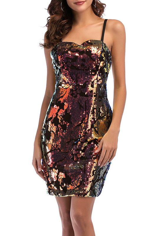 goldene pailletten spark spaghetti b gel bodycon vereinwear minikleid minikleider kleider. Black Bedroom Furniture Sets. Home Design Ideas