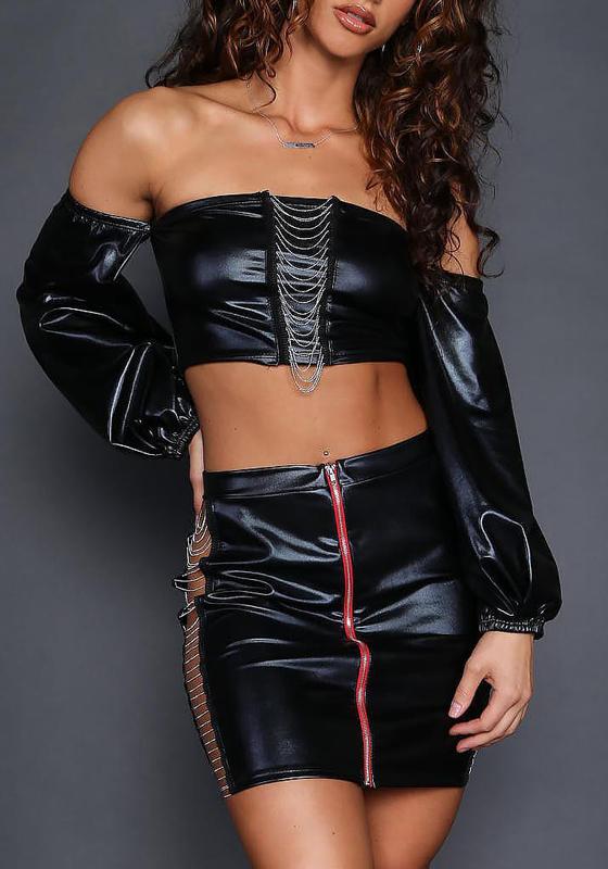 Black Zipper Chain Off Shoulder Latex Two Piece Fashion