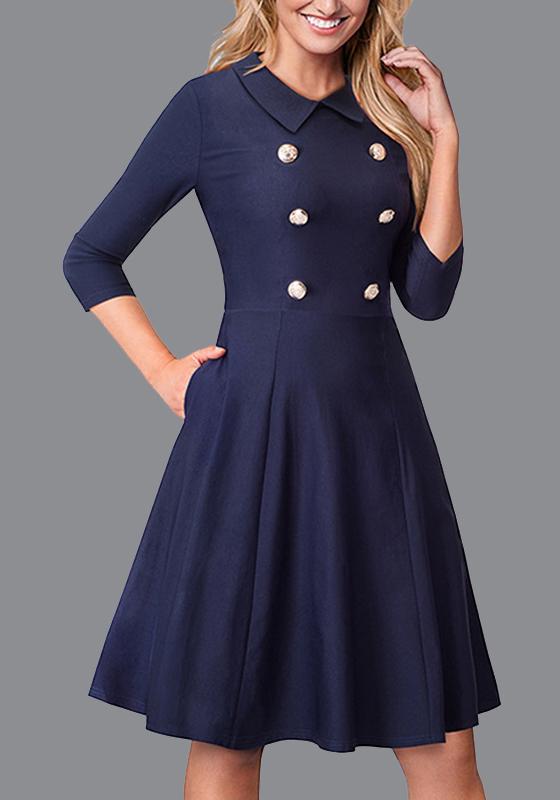 dunkelblaue kn pfe taschen tutu turndown kragen formale partei minikleid minikleider kleider. Black Bedroom Furniture Sets. Home Design Ideas