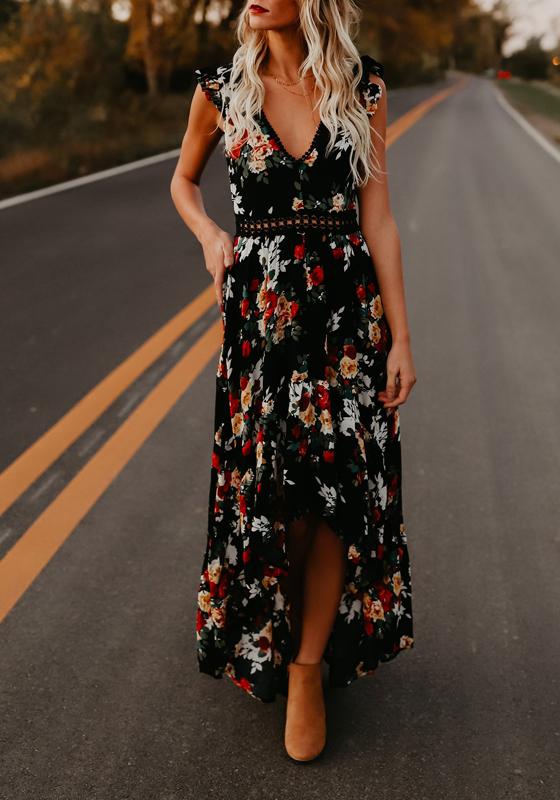 robe maxi longue imprime a fleurie dos nu swallowtail haut With chambre bébé design avec robe droite fleurie
