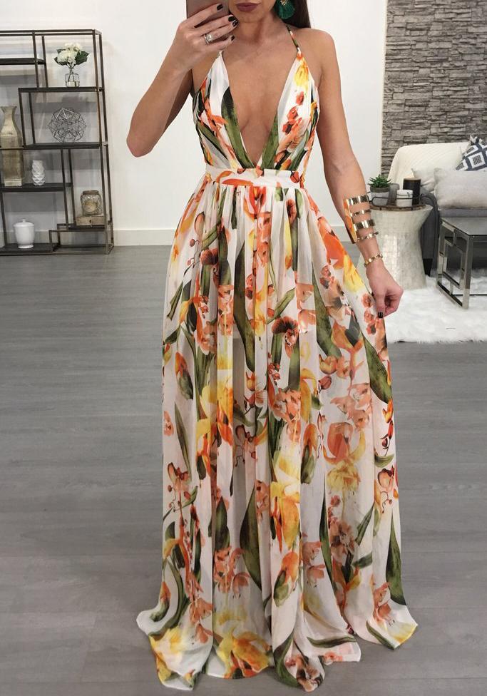 aad8ad48a886 White Draped Spaghetti Strap Deep V-neck Flowy Vegas Bohemian Elegant Party Maxi  Dress - Maxi Dresses - Dresses