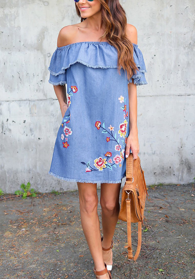 Blue Ruffle Embroidery Off Shoulder Mexican Cute Party