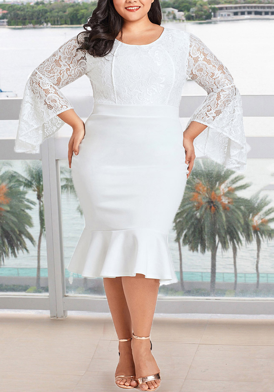 White Lace Ruffle Mermaid Plus Size Bodycon Bell Sleeve