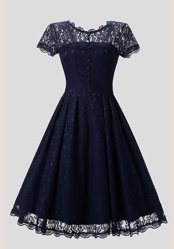 blaue spitze kn pfe transparente plissee r ckenfreies vintage elegantes midikleid ballkleid. Black Bedroom Furniture Sets. Home Design Ideas