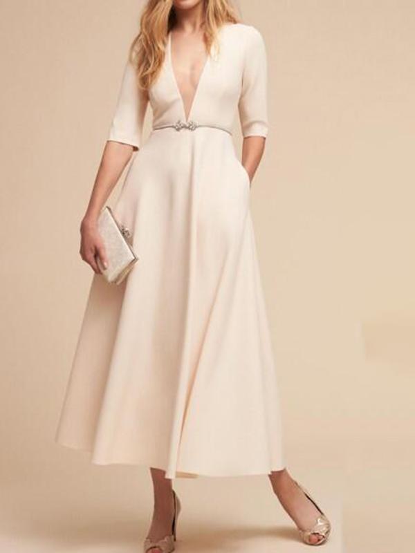 White Pockets Plus Size Half Sleeve Deep V-neck Banquet Formal Elegant  Vintage Maxi Dress