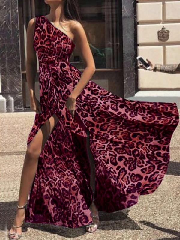Vestido Largo Estampado De Leopardo Carmín Color Rosa Cinturilla Asimétrica Fajín Elegante