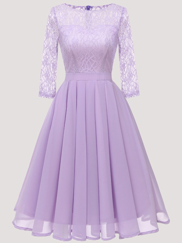 Purple Patchwork Lace Pleated Round Neck Long Sleeve Midi