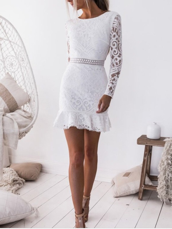 32bec2b6418a White Lace Ruffle High Waisted Bodycon Long Sleeve Sweet Homecoming Party Mini  Dress - Mini Dresses - Dresses