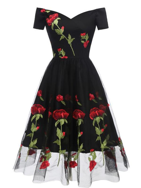 Black Floral Off Shoulder Embroidery Grenadine Pleated