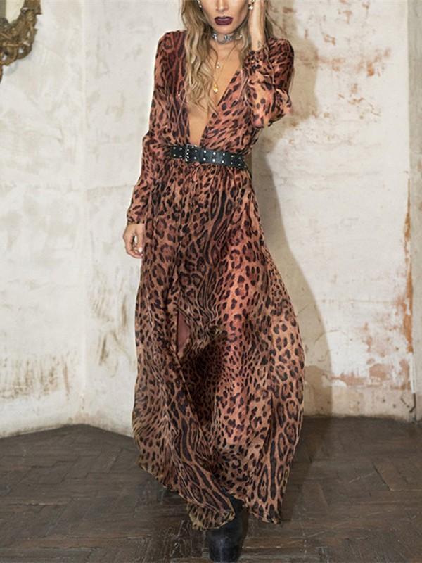 sale online the best buy popular Leopard Print Draped Long Sleeve Deep V-neck Beachwear Party Maxi ...