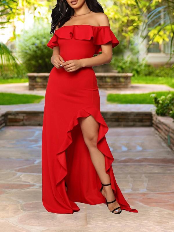 65a1243b6189 Red Ruffle Off Shoulder Irregular High-Low Bodycon Elegant Prom Party Maxi  Dress - Maxi Dresses - Dresses