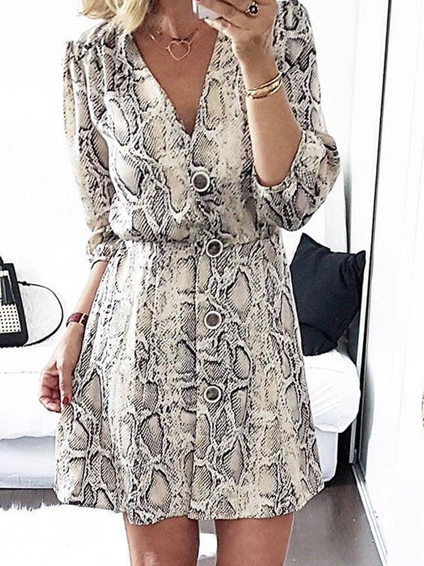 White Snake Floral Print Buttons V Neck 3 4 Sleeve Fashion