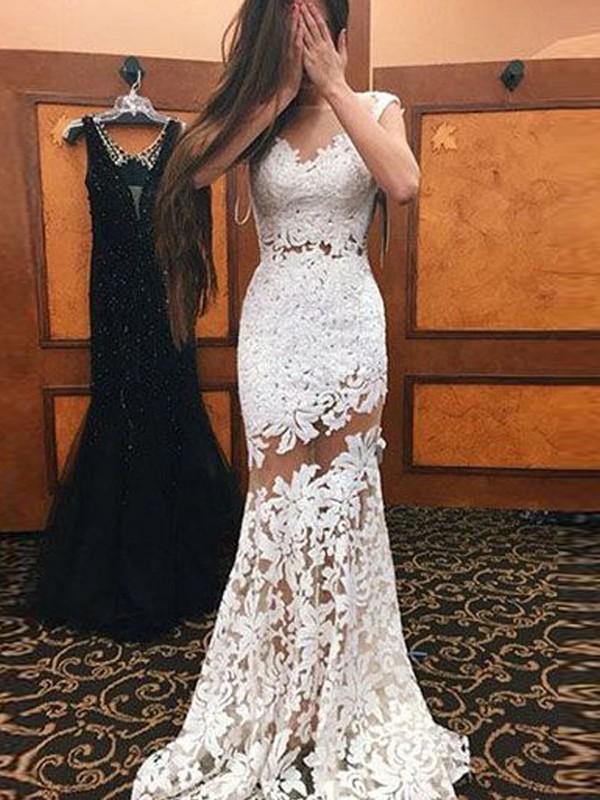 Robe Longue Avec Dentelle Dos Nu Moulante Sirene Sans Manches Elegant De Mariee Blanc