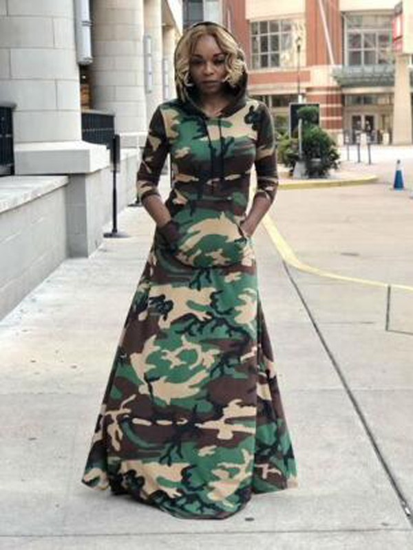 Army Green Camouflage Pockets Long Sleeve Floor Length