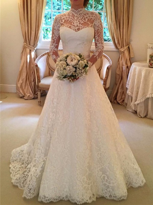 Robe Longue Avec Dentelle Tutu Dos Nu Fluide Manches Longues Elegant De Soiree Pour Mariage Blanc