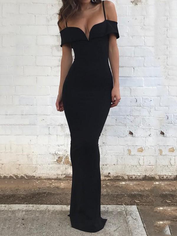 prix compétitif chaussure meilleure sélection de 2019 Robe longue spaghetti épaules fendues moulante sirene manches courtes  élégant de soirée noir