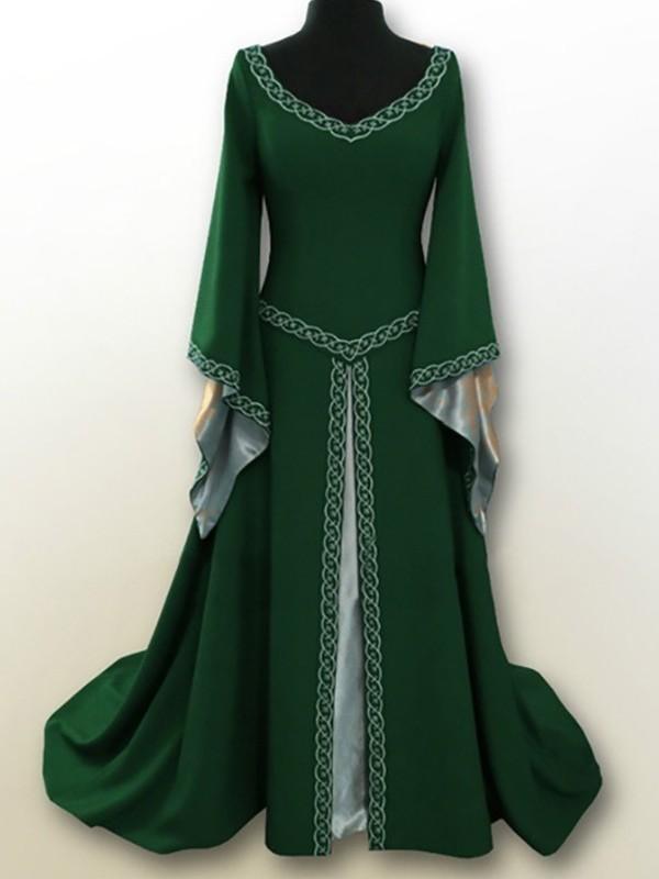 Langarm Party Grün Stickerei Ausschnitt Renaissance Vintage Kleid V Maxikleid Mittelalter Karneval Jahrgang H29IWEYeD