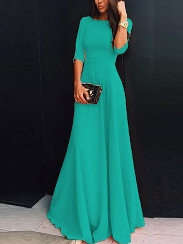 ce2eff0535756 Green Chiffon Draped Zipper Round Neck Three Quarter Length Sleeve Elegant Maxi  Dress - Maxi Dresses - Dresses