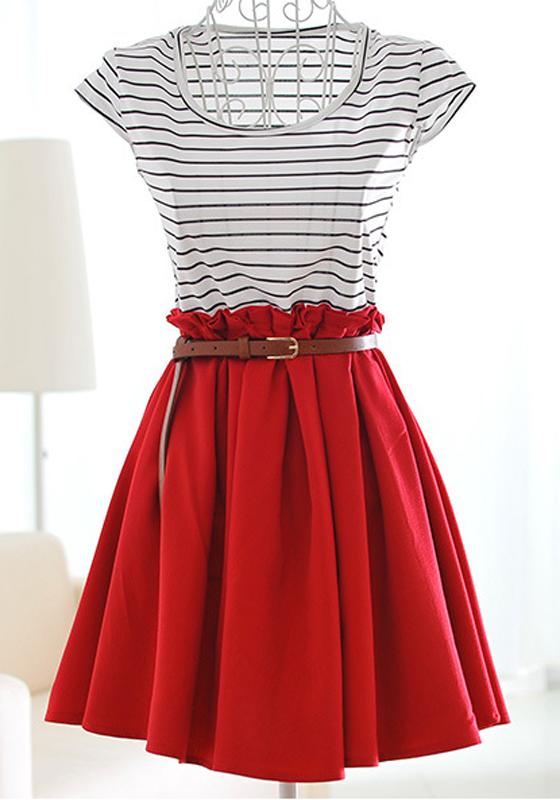 Wine Patchwork Striped Pleated Short Sleeve Dacron Dress