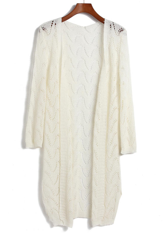 White Hollow-out Long Sleeve Loose Acrylic Cardigan ...
