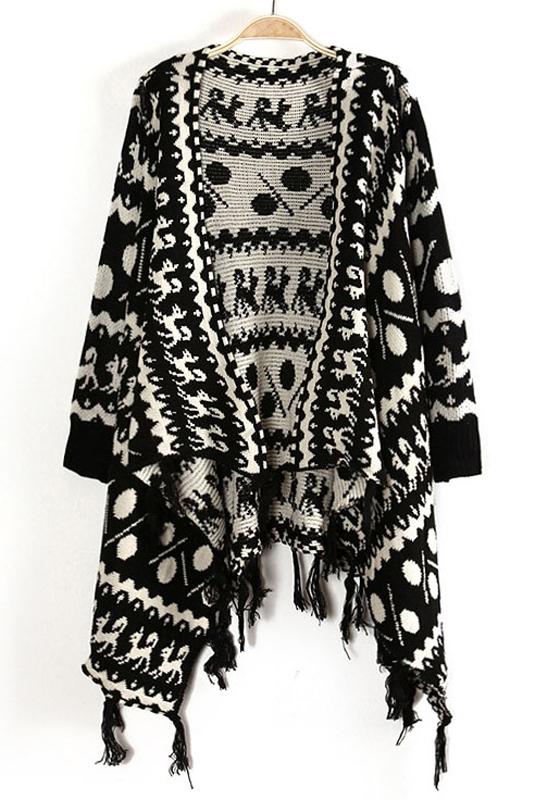df52b3e418f3 Beige Dog Print Tassel Batwing Cotton Blend Sweater - Cardigans ...
