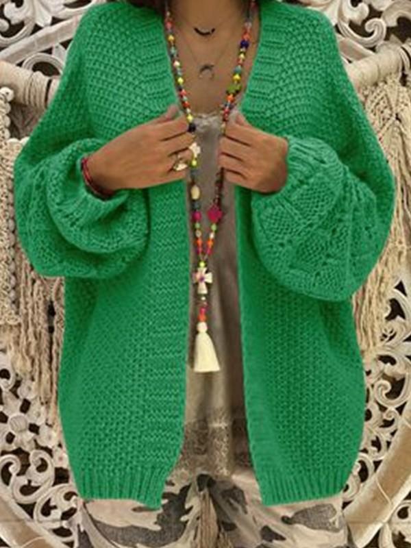 images officielles procédés de teinture minutieux expédition de baisse Gilet grosse maille tricoté cardigan ouverte manches longues lâche  décontracté femme vert