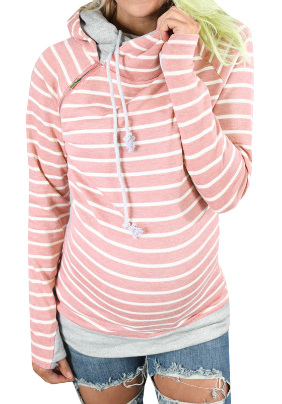 Pink Striped Drawstring Zipper Cowl Neck Casual Hooded ...