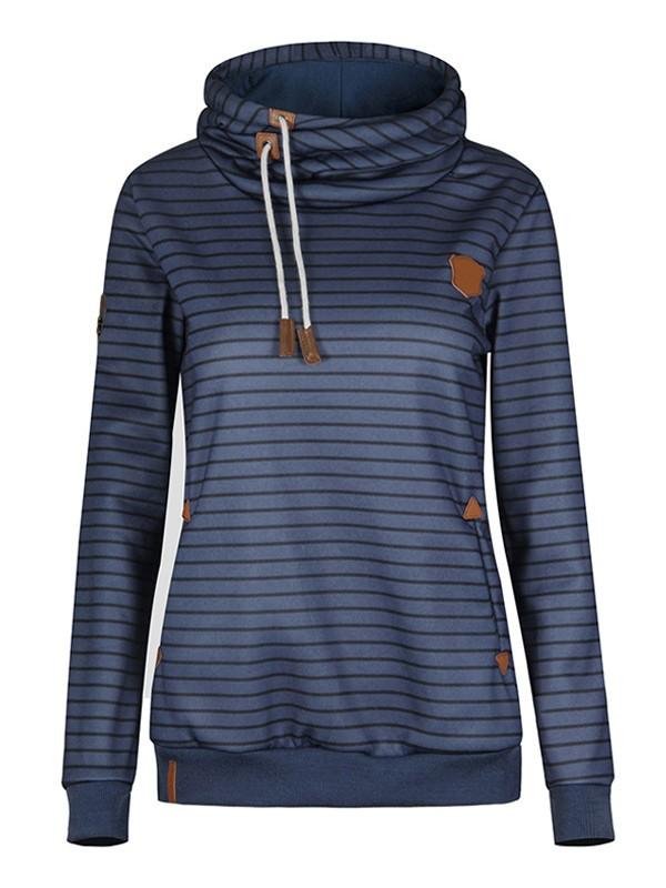 Sweatshirt rayé à capuche manches longues décontracté femme mariniere naketano pull bleu foncé
