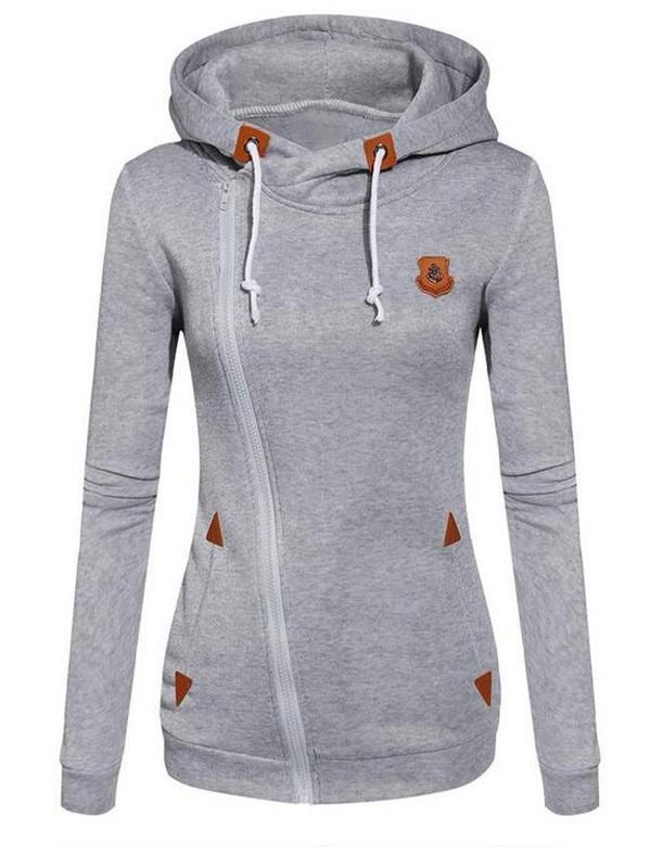 official photos 5178d 15850 Grau Schrägem Reißverschluss Tunnelzug Lässige Sweatshirt Pullover mit  Kapuze Hoodie Damen Sale