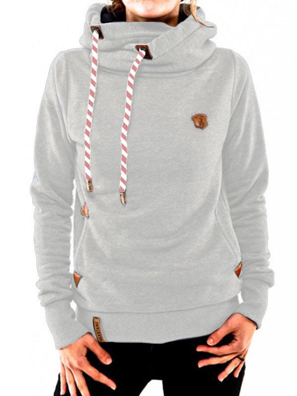 Sweatshirt à capuche manches longues décontracté femme naketano pull gris clair