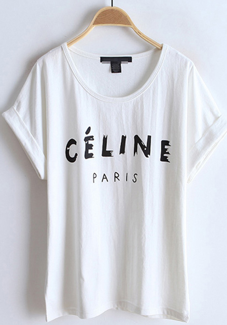 White letter collarless batwing short sleeve cotton t for Collarless short sleeve dress shirt