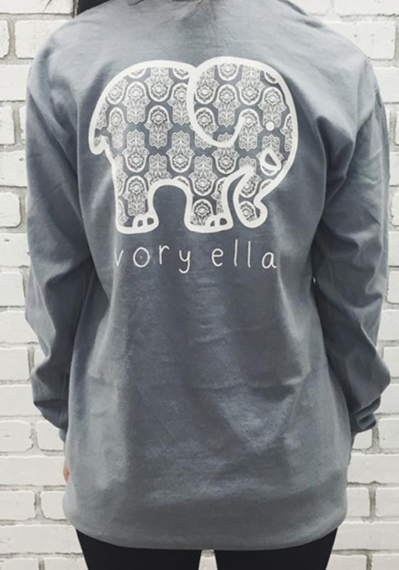 0e92a823c Grey Ivory Ella Elephant Pocket Print Long Sleeve Cute Casual T-Shirt -  T-Shirts - Tops