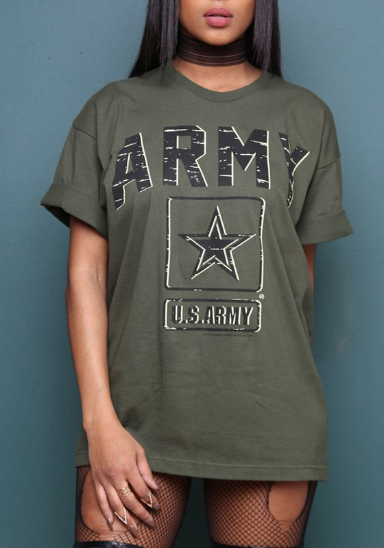 11715a2ecec28 Green Monogram Survivor Army Olive Graphic Shift Round Neck Short Sleeve T- Shirt - T-Shirts - Tops