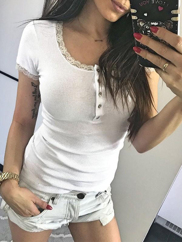 heißer verkauf authentisch elegante Form Super günstig Weiß Spitze Knöpfen Kurzarm Bodycon Enges T-Shirt Tops Oberteile Damen Mode