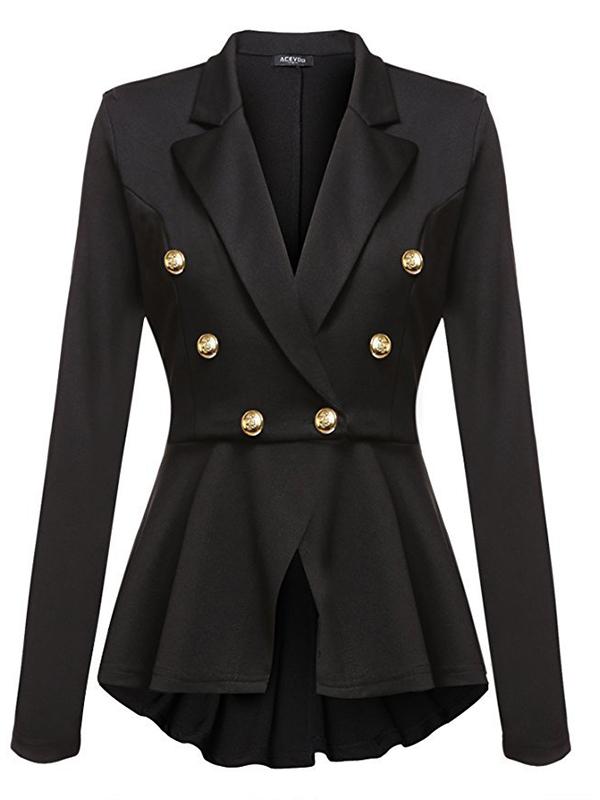 blazer officier double boutonnage peplum manches longues mode femme de bureau noir manteaux. Black Bedroom Furniture Sets. Home Design Ideas