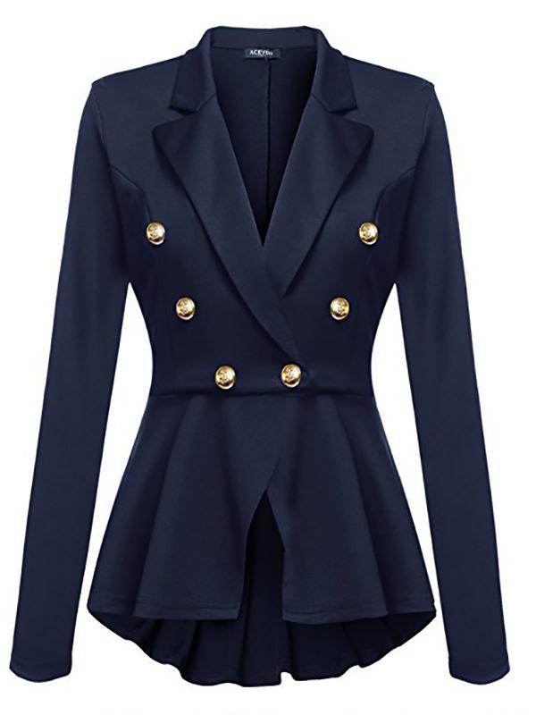 manteau officier double boutonnage peplum manches longues mode femme blazer bleu manteaux hauts. Black Bedroom Furniture Sets. Home Design Ideas