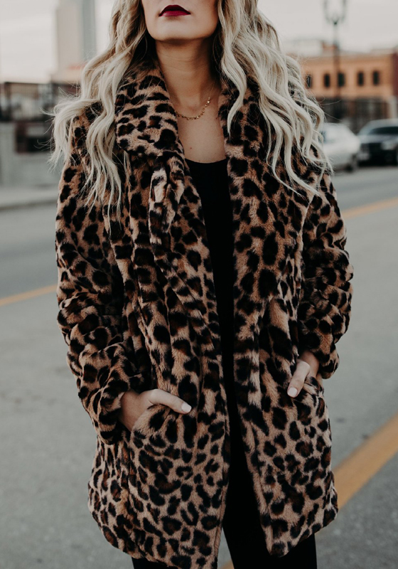 Manteau en fourrure imprim l opard col revers manches longues femme mode hiver marron - Comment porter un trench femme ...
