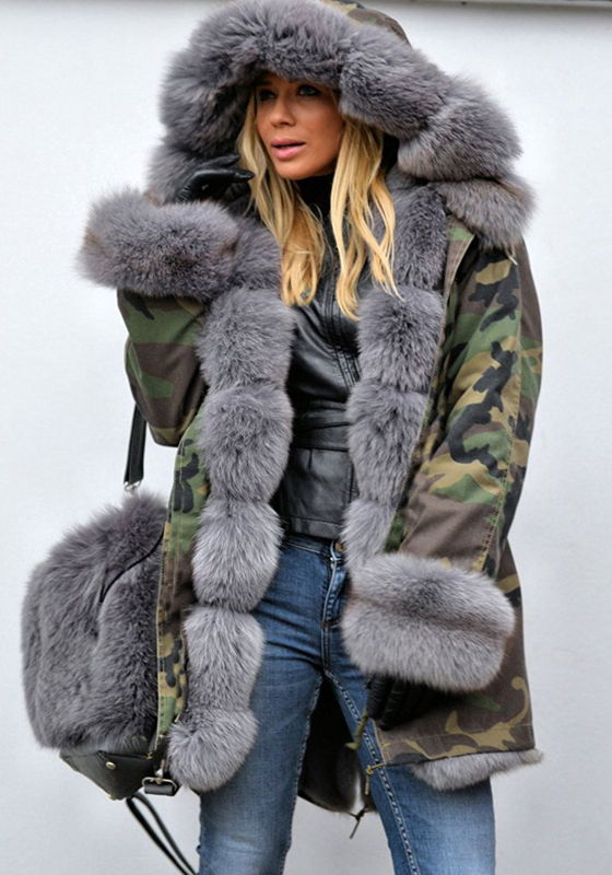 Army Green Camouflage Pockets Hooded Fur Collar Long