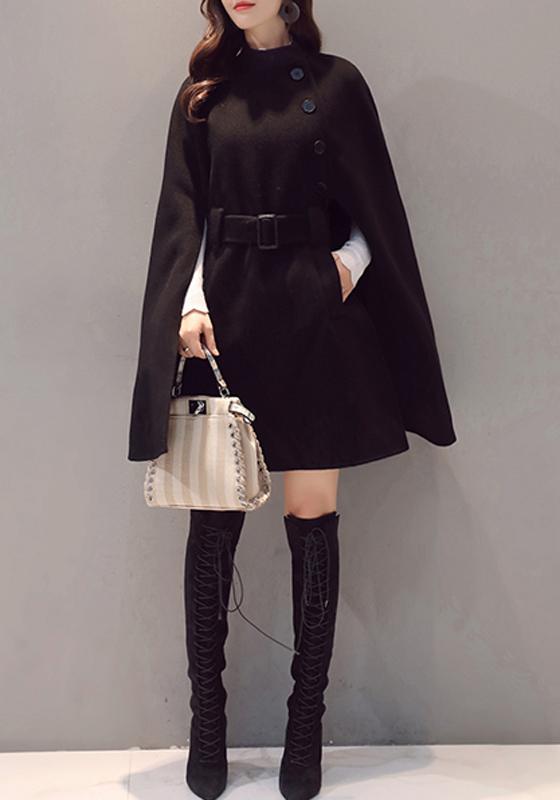 manteau mi longue en laine asym trique avec poches femme hiver l gant cape noir manteaux hauts. Black Bedroom Furniture Sets. Home Design Ideas