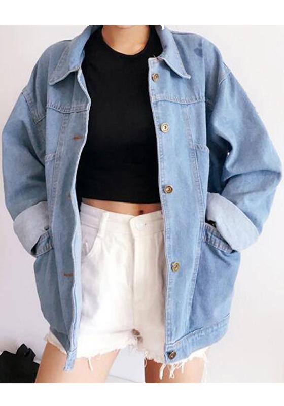 hellblaue taschen einreiher boyfriend oversize jeansjacken mode damen mantel jacke oberteile. Black Bedroom Furniture Sets. Home Design Ideas