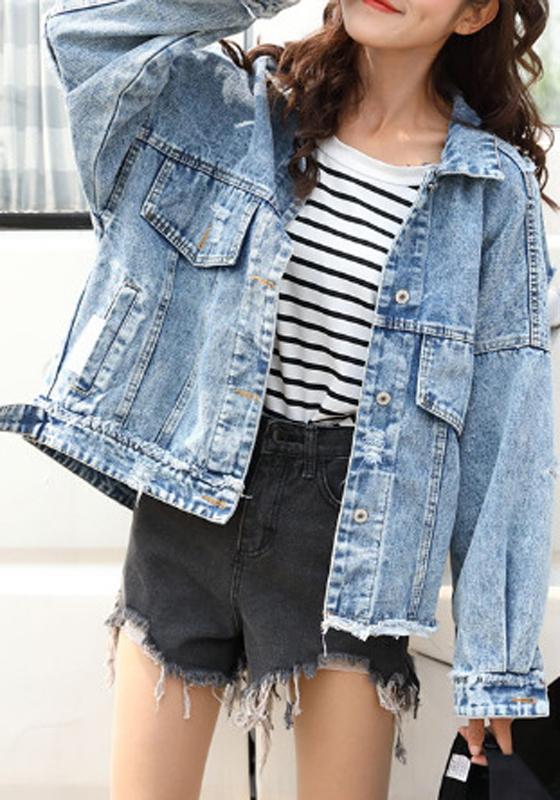 Hellblaue taschen einreihig boyfriend oversize zerrissene jeansjacken mode damen mantel jacke - Jeansjacke damen oversize ...