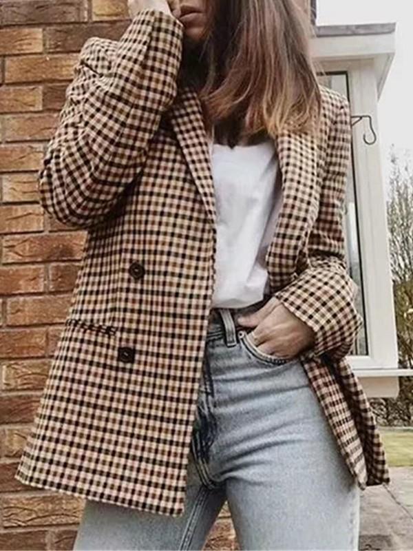photos officielles 5e242 9e529 Blazer en carreaux avec poches boutons col cranté manches longues  décontracté femme marron