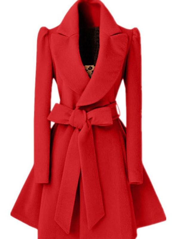 Rotes Schleife Umlegekragen Mit Gürtel Peplum Wollmantel Winter Mantel Damen Mode